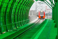 Moscow, Russia - September 13, 2016: Central Circle Line MCC Lastochka train at Stock Photos