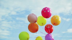 Balloons developed in the wind, Slow Motion Stock Footage