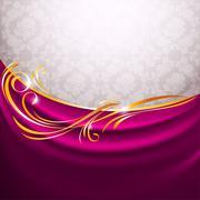 Pink fabric curtain, gold vignette Stock Illustration