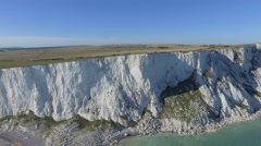 Beachy Head Cliffs Tilt down to Lighthouse as Drone Ascends - Drone Stock Footage