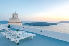 Fira. The capital of Santorini island in the Mediterranean Sea. Stock Photos