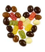 The heart of chocolate candies Stock Photos