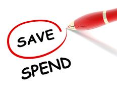 Save spend concept  3d illustration Stock Illustration