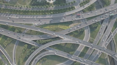 Aerial slider shot major highway intersection in Zhengzhou city, China Stock Footage