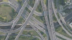 China urban infrastructure transportation, drone shot of massive intersection Stock Footage