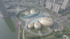 Aerial shot of modern convention exhibition center in Zhengzhou, China Stock Footage