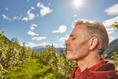 Profile of mature man, outdoors, Meran, South Tyrol, Italy Stock Photos