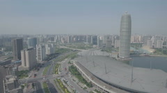 Drone flight towards modern convention center with Asian inspired architecture Arkistovideo
