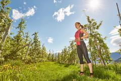 Young woman meditating outdoors, Meran, South Tyrol, Italy Stock Photos