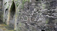 Sligo Abbey Ruins Close Up on Stone Wall in Ireland Built in 1253AD Stock Footage