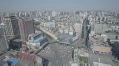 Establishing drone shot of center Zhengzhou city, China Stock Footage
