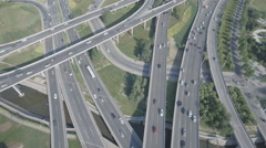Flying over major intersection in Zhengzhou city, urban China Stock Footage