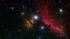 Deep space beautiful night sky. Horsehead Nebula in the constellation Orion. Stock Footage
