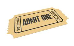 Ticket admit one concept  3d illustration Stock Illustration