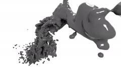 Grey fluid flow in motion. in slow motion. Colored paint Stock Footage
