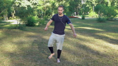 Everyday workout outdoors in the spring or summer season Stock Footage