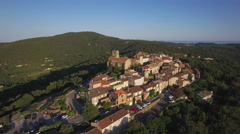 Aerial view of the village of Gassin village located in provence, France Stock Footage