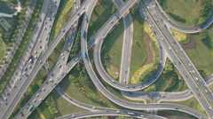 Overhead drone shot of converging highways at busy city interchange China Stock Footage