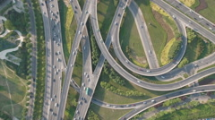 China infrastructure transportation, aerial drone shot of busy intersection Stock Footage