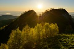 Silhouetted view at dusk, Bolshoy Thach (Big Thach) Nature Park, Caucasian Stock Photos