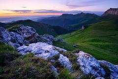 Landscape with rocks at dusk, Bolshoy Thach (Big Thach) Nature Park, Caucasian Stock Photos