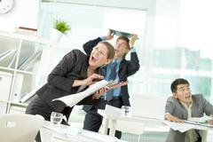Earthquake in office Stock Photos