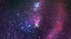 Orion The Hunter. Constellation of Orion in real night sky.  Stock Footage