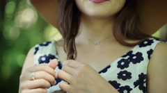 Girl touching and playing with her hair while looking stylish Stock Footage