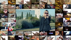 Composition with blonde businesswoman talking by mobile phone Stock Footage