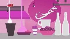 Bermuda - Vector Menu - Restaurant - Food and Drinks - pink Stock Footage