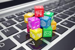Macro view of heap  colorful cubes with application icons and symbols on laptop Stock Illustration