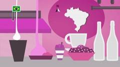 Brazil - Vector Menu - Restaurant - Food and Drinks - pink Stock Footage