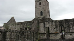 Sligo Abbey Ruins Stone Tower in Ireland Built 1253AD Stock Footage