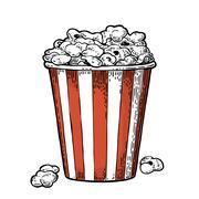 Carton bucket full popcorn. Vector black vintage engraving illustration Stock Illustration