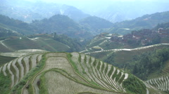 Beautiful view of lush green rice terraces in the Longji fields in central China Stock Footage