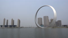Massive ring sculpture in ghost town in Northern China Stock Footage