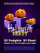 Halloween party poster with scary pumpkins on pedestal Stock Illustration