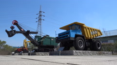 Coal mining equipment on display at a museum in Liaoning province Stock Footage