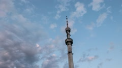 Kok-tobe television tower at sunset. Almaty, Kazakhstan Stock Footage