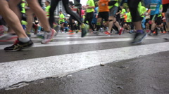Feet and legs of people taking part in Shanghai Marathon, sports in China Arkistovideo