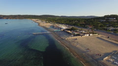 Aerial view of the famous Pampelonne beach at St Tropez Stock Footage