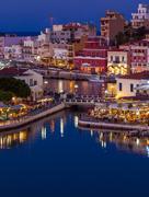 Agios Nikolaos City at Night, Crete, Greece Stock Photos
