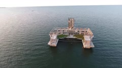 Aerial view of old building in sea, point of interest Stock Footage
