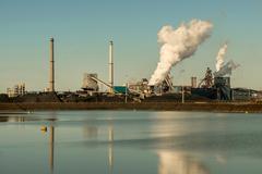Vapor clouds from steel foundry, Wijk aan Zee, North Holland, Netherlands Kuvituskuvat
