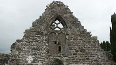 Creevelea Friary Ruins View of Stone Arch Window in Ireland Stock Footage