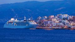 Agios Nikolaos City and Cruse Ship at Night, Crete, Greece Stock Photos