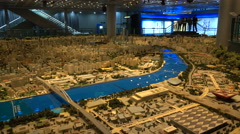 Scale model of Shanghai in Exhibition hall Stock Footage