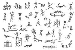 Set of stick figures in motions Stock Illustration