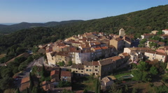 Aerial view of the famous village of Ramatuelle located in Provence, France Stock Footage