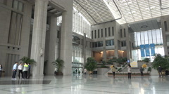 Large entrance hall and lobby of Bank of Shanghai in China Stock Footage